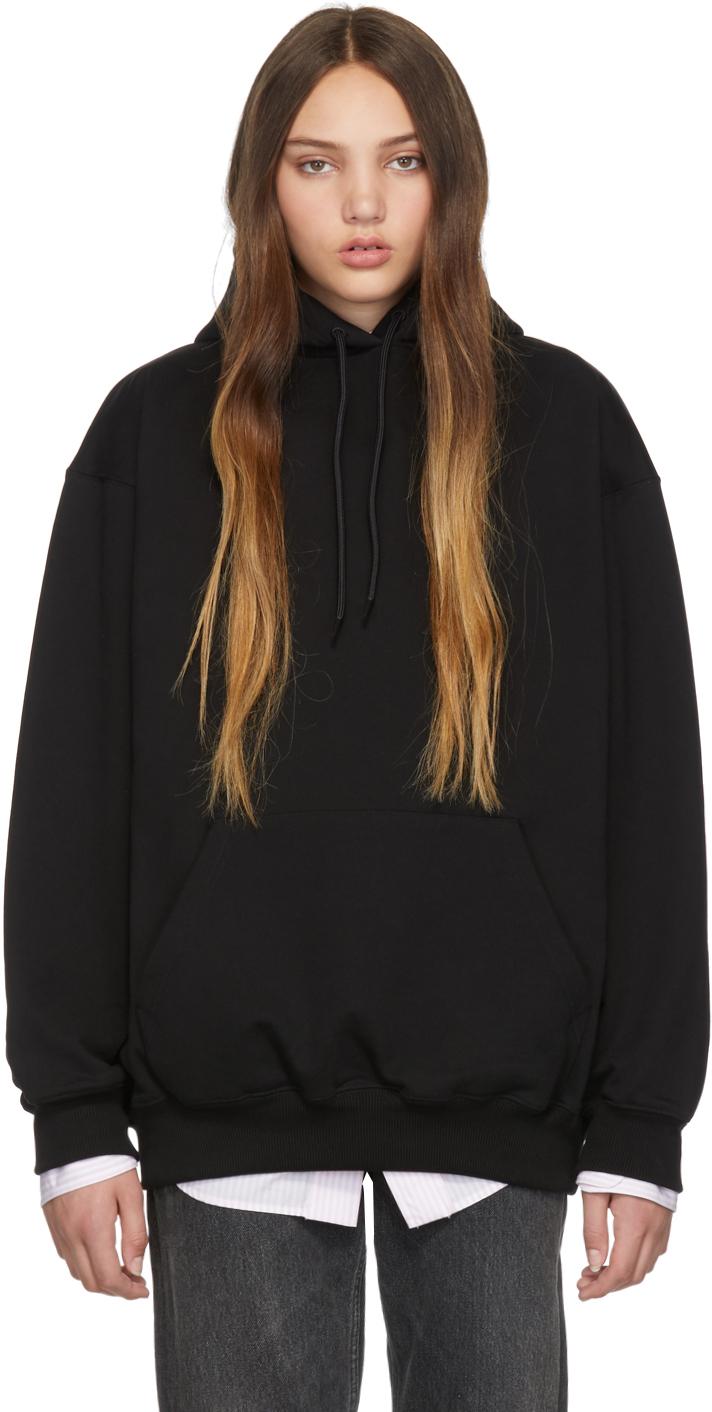 Balenciaga Tops Black Logo Hoodie