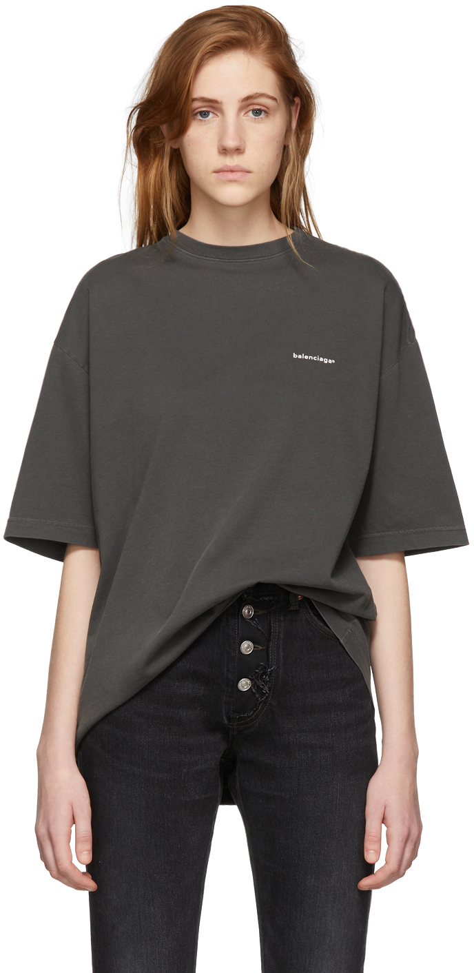 Balenciaga Shirts Black Oversized Classic T-Shirt