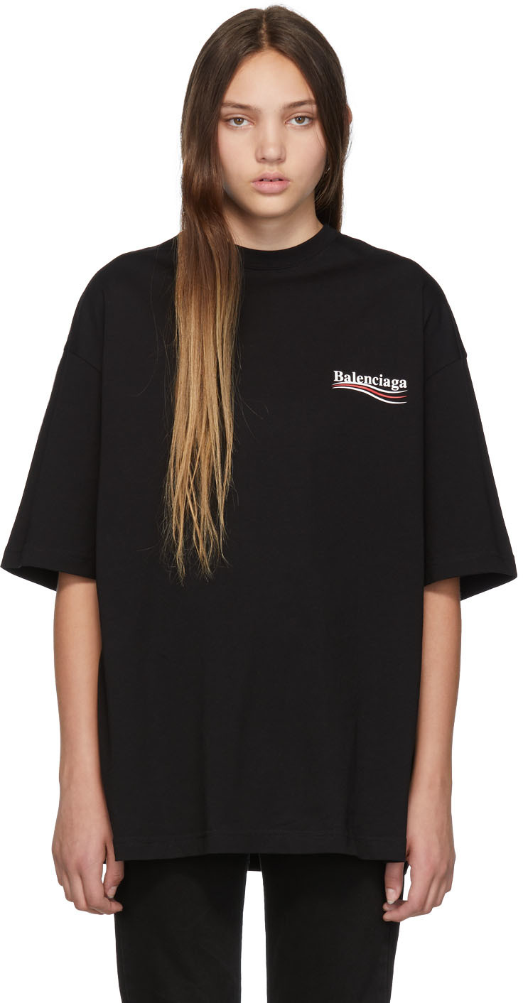 Balenciaga Shirts Black Campaign T-Shirt