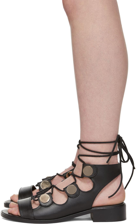 Pierre Hardy Flats Black Penny Gladiator Sandals
