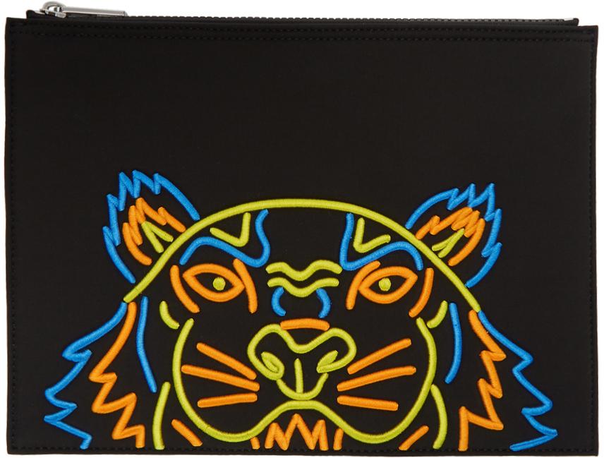 Kenzo Accessories Black Neoprene Tiger Pouch