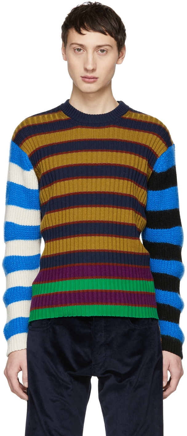 Kenzo Rings Multicolor Colorblock Striped Memento Sweater