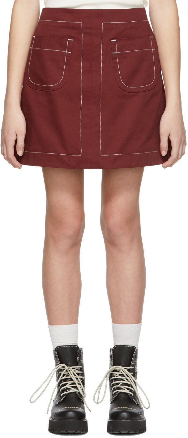 Maison Kitsuné Tops Red Contrasted Topstitching Giulia Miniskirt