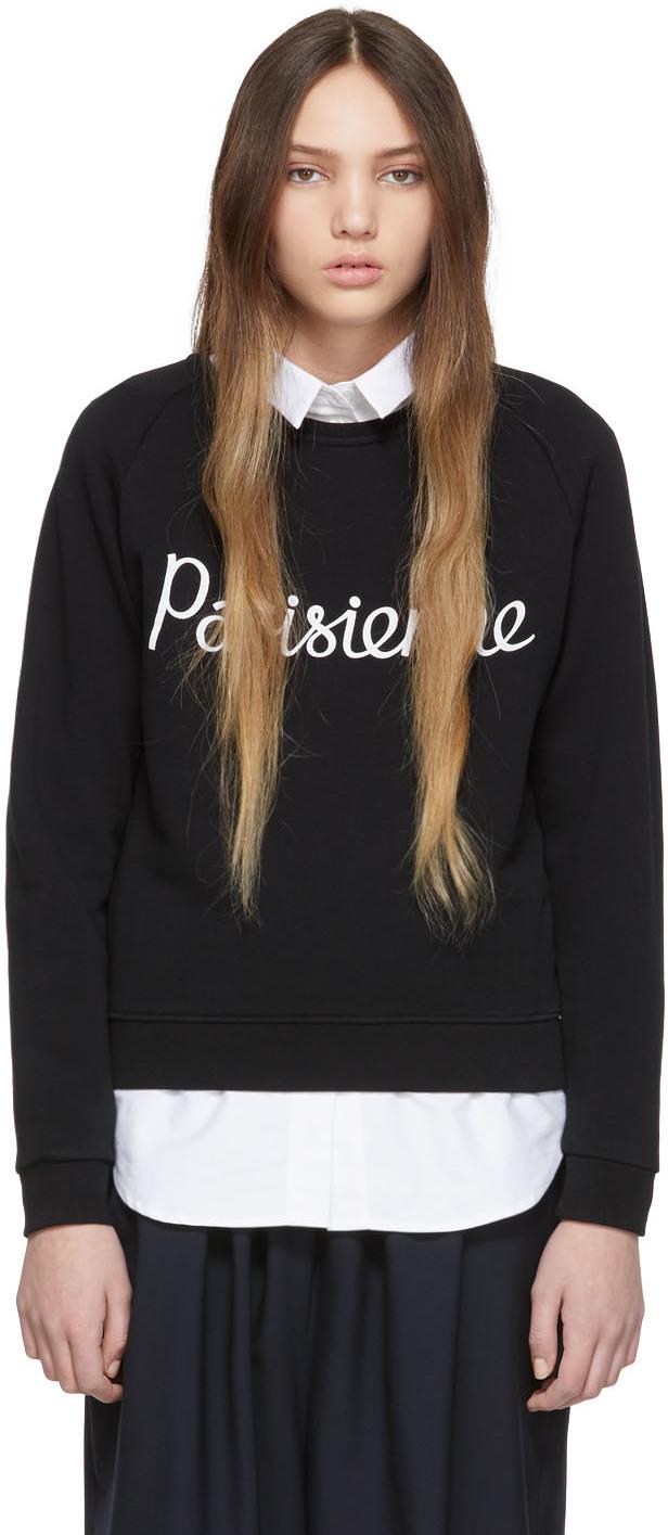 Maison Kitsuné T-shirts Black 'Parisienne' Sweatshirt
