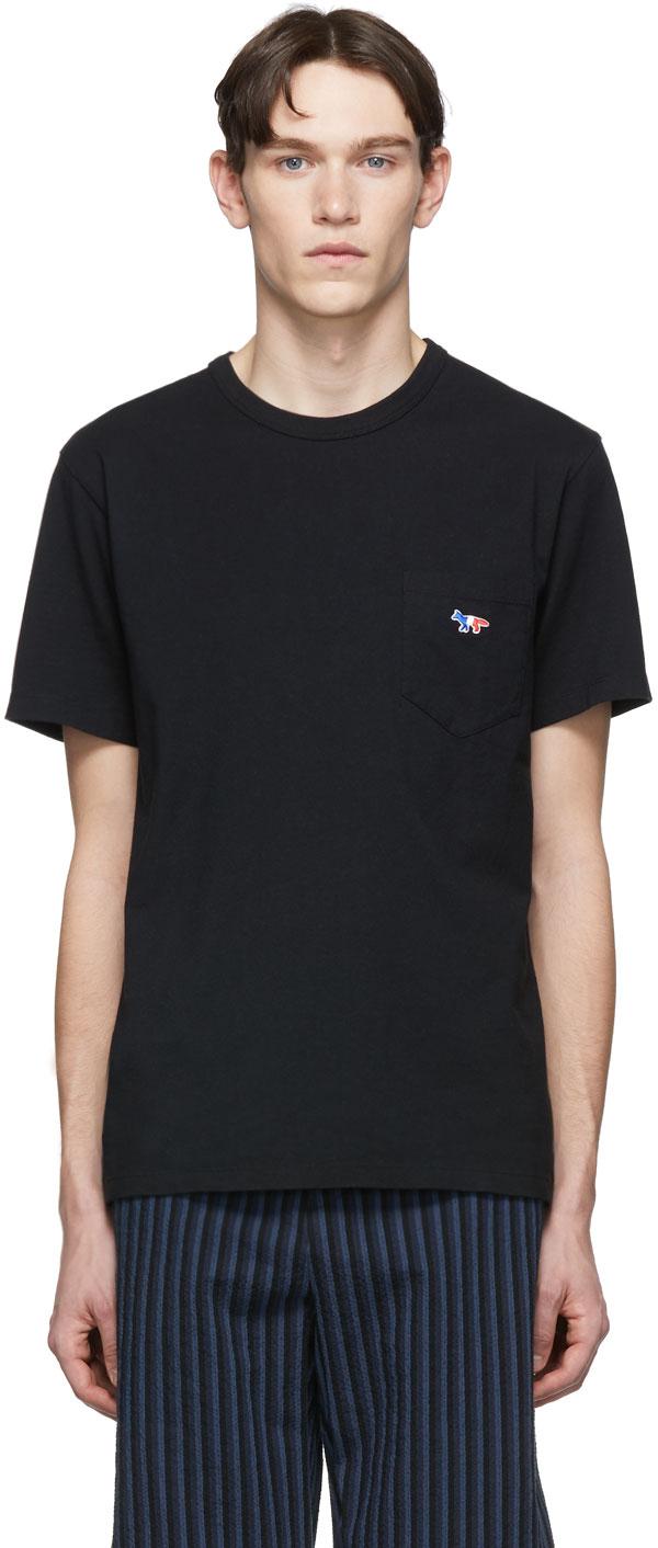 Maison Kitsuné T-shirts Black Tricolor Fox Patch Pocket T-Shirt