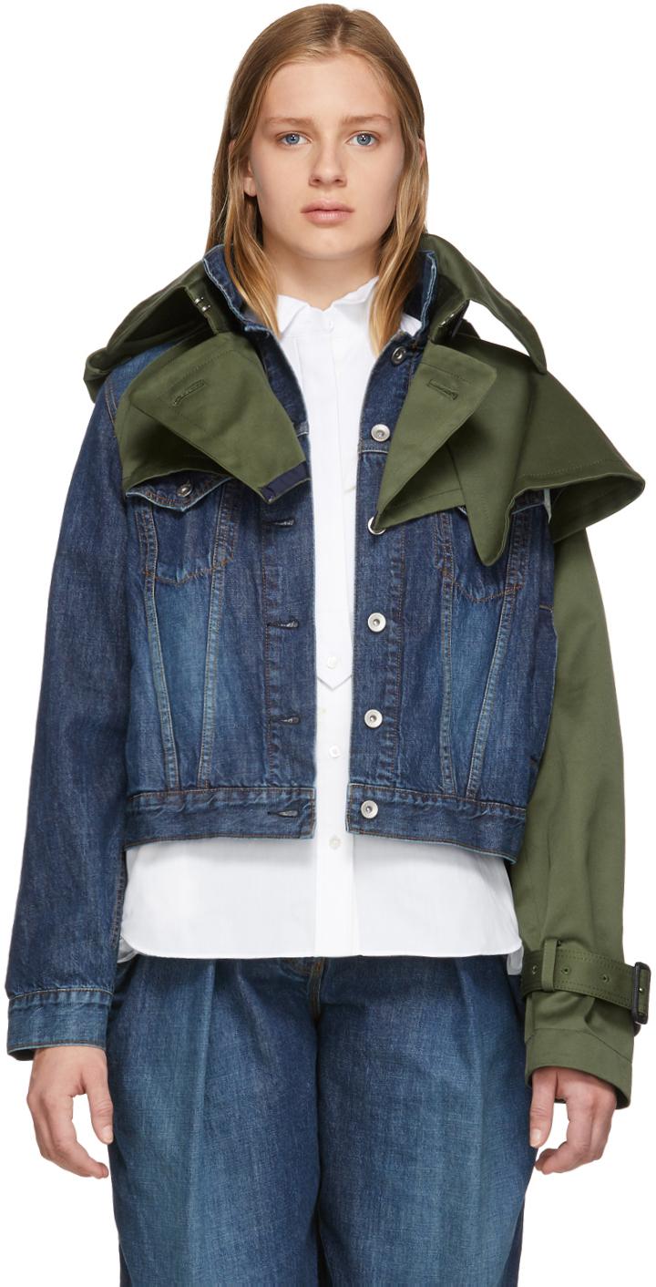 Sacai Jackets Blue & Khaki Denim & Twill Hybrid Jacket