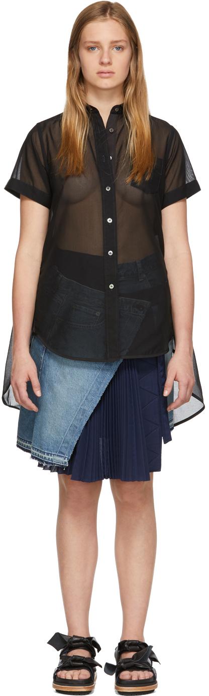 Sacai T-shirts Black Organza Tunic