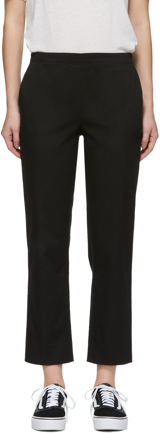 6397 Black Stretch Cotton Pull-On Trousers