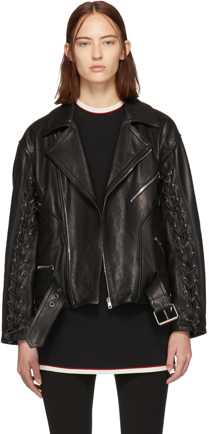 Gucci Jackets Black Leather Mushroom Jacket