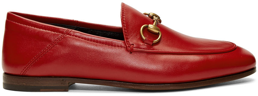 Gucci Loafers Red Leather Horsebit Loafers