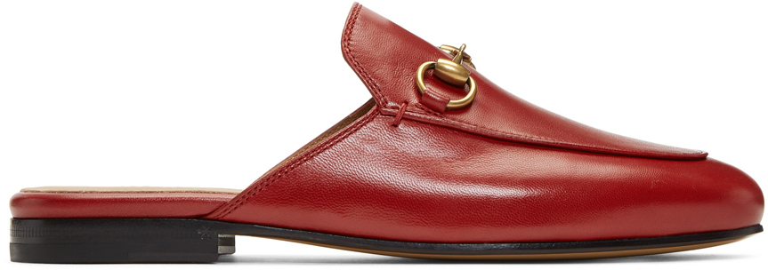 Gucci Loafers Red Princetown Slippers