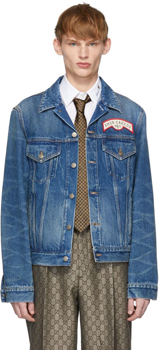 Gucci Jackets Blue Denim Oversize Patches Jacket