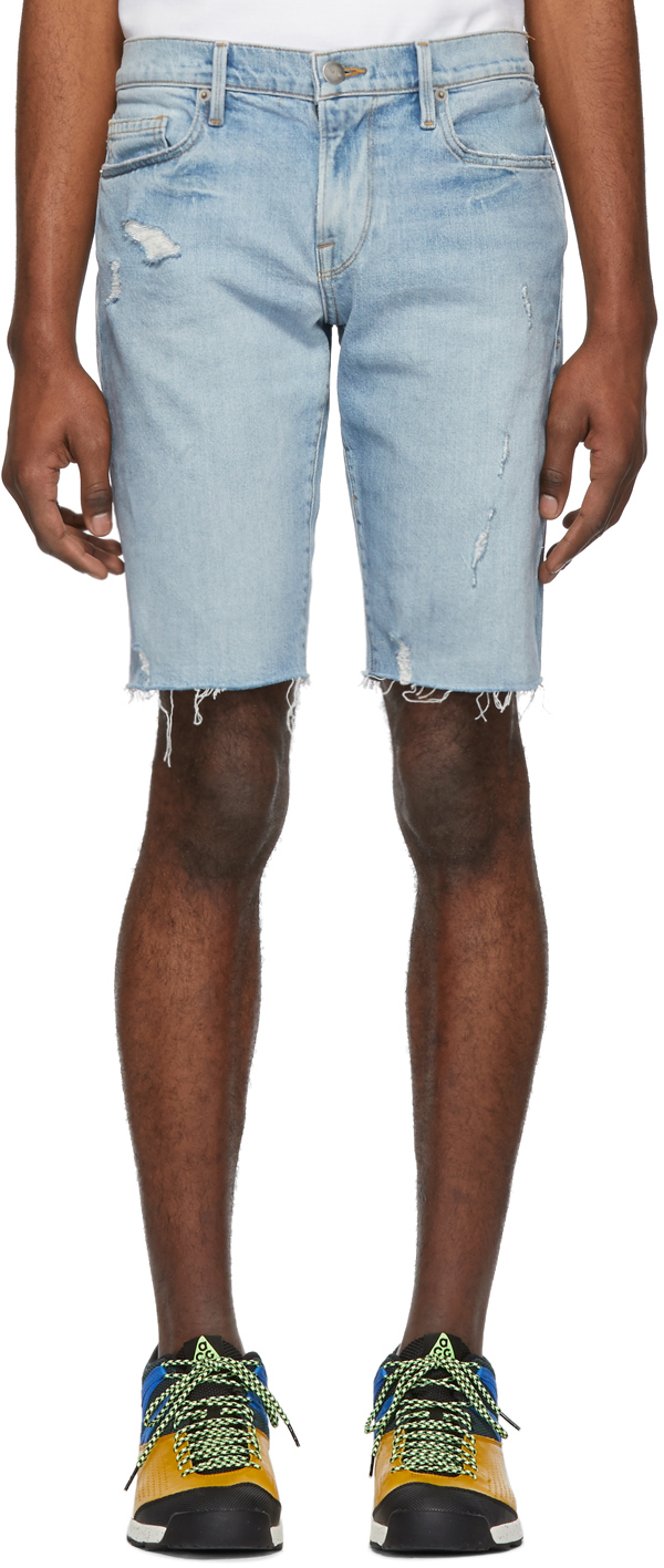 Frame Shorts Blue Denim 'L'Homme' Cut-Off Shorts