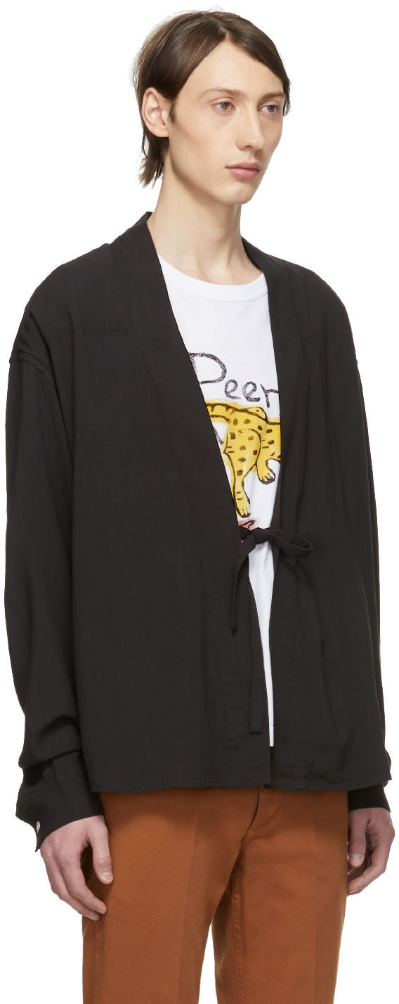 Visvim T-shirts Black Rayon Lhamo Shirt
