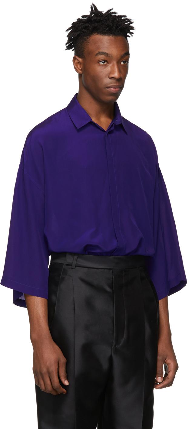 Haider Ackermann T-shirts Blue Silk Short Sleeve Shirt