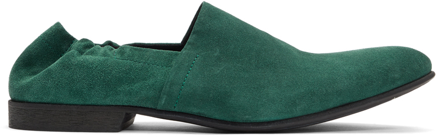 Haider Ackermann Loafers Green Gathered Babouche Loafers