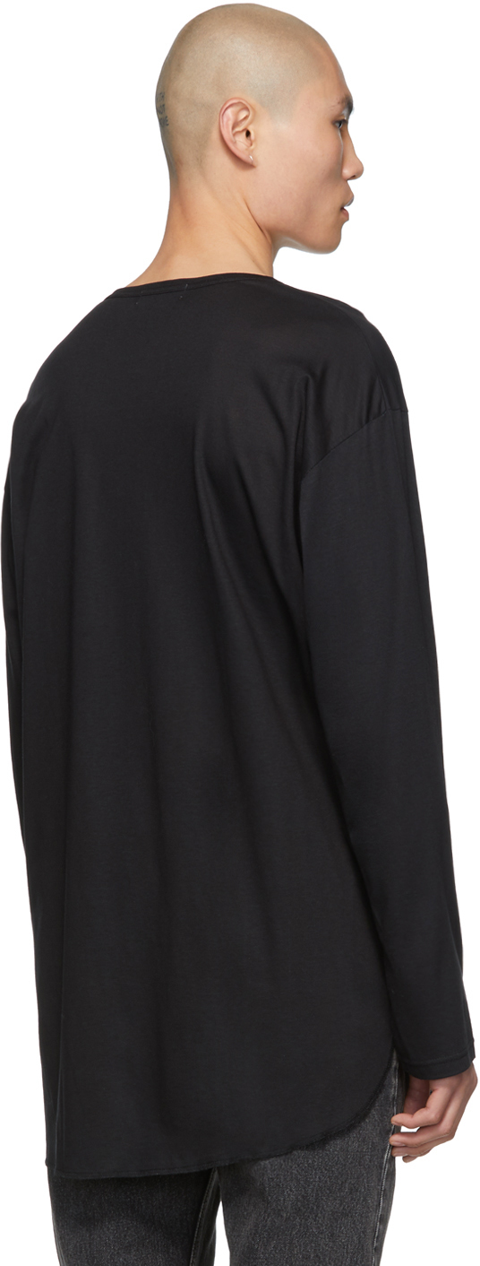 Yohji Yamamoto T-shirts Black Yohji Face Long Sleeve T-Shirt