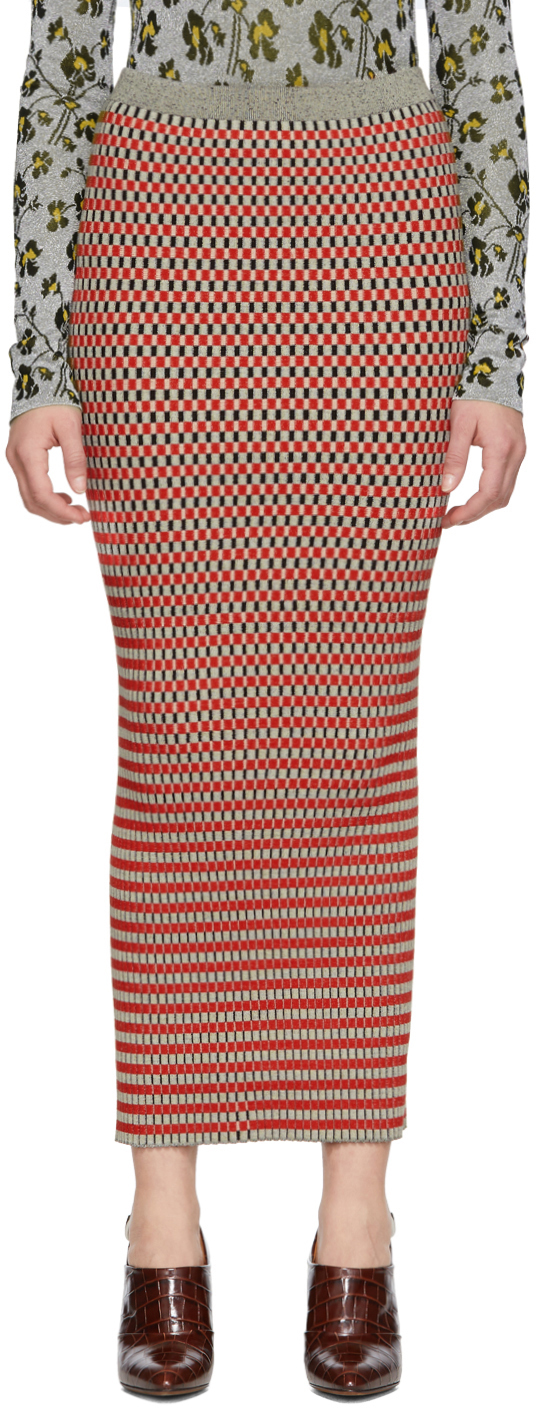 Paco Rabanne Skirts Red & Grey Striped Skirt