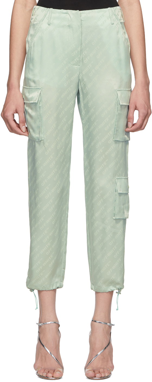 Off-White Silks Green Logo Trousers