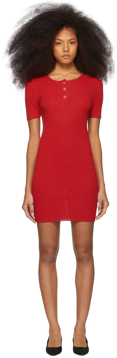 Mansur Gavriel Dresses Red Knit Button Dress