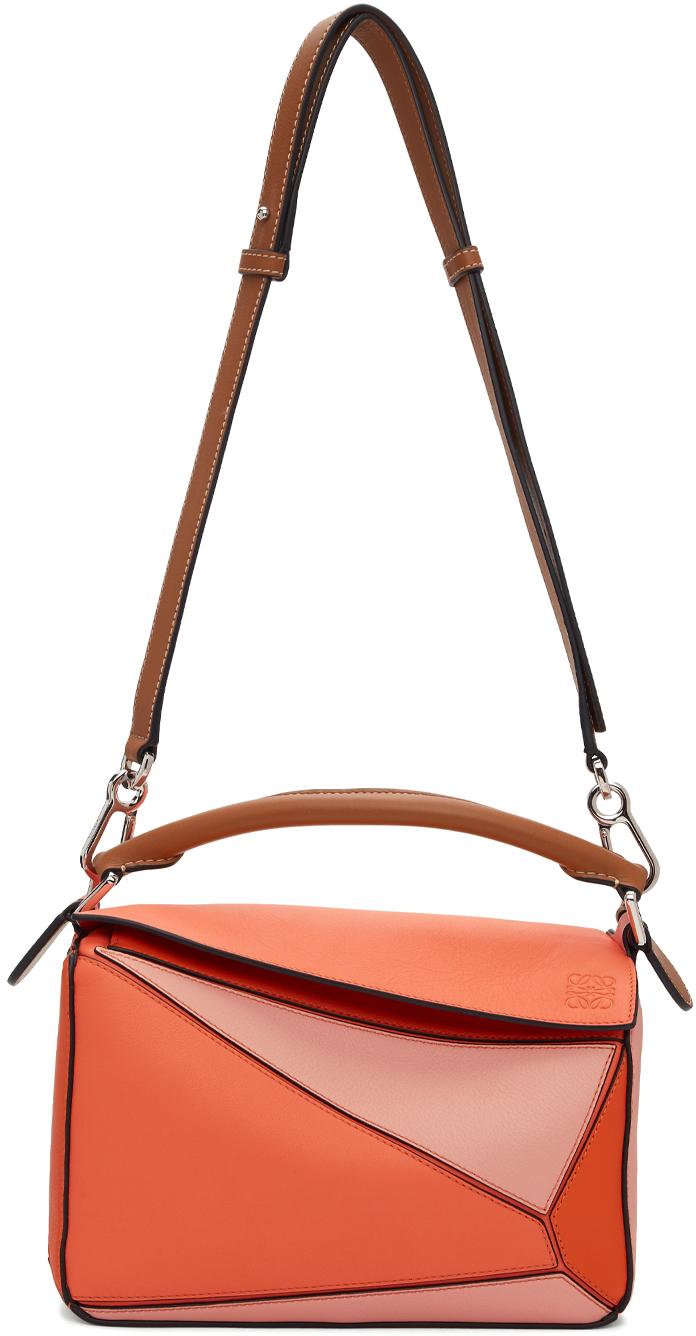 Loewe Shoulder Orange & Pink Small Puzzle Bag