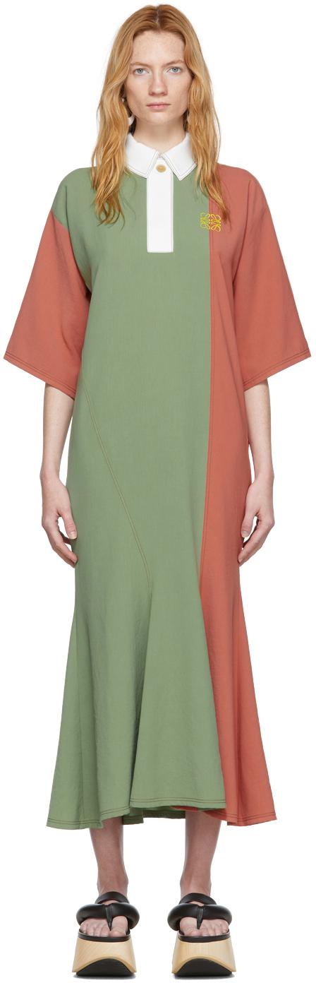 Loewe Dresses Green & Pink Poloneck Dress