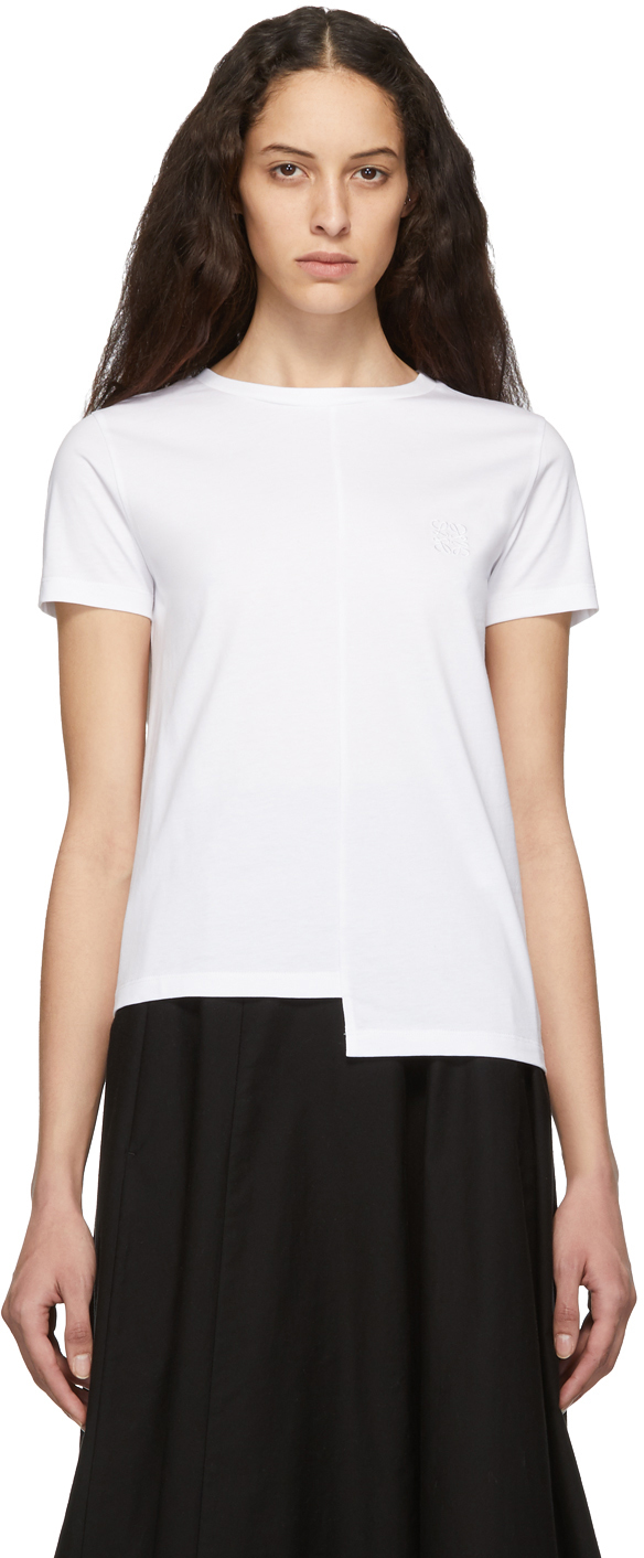 Loewe T-shirts White Asymmetric Anagram T-Shirt