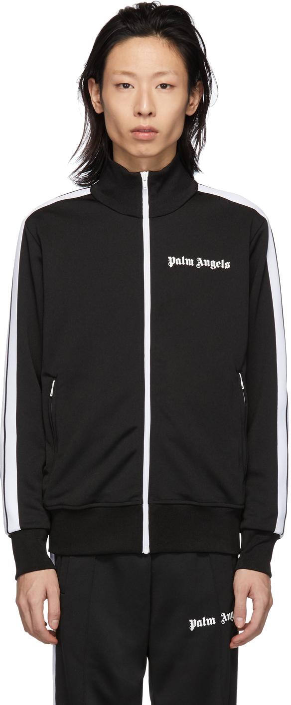 Palm Angels Jackets Black & White Logo Track Jacket