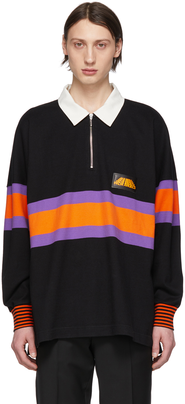 Palm Angels Tops Black Long Sleeve Polo