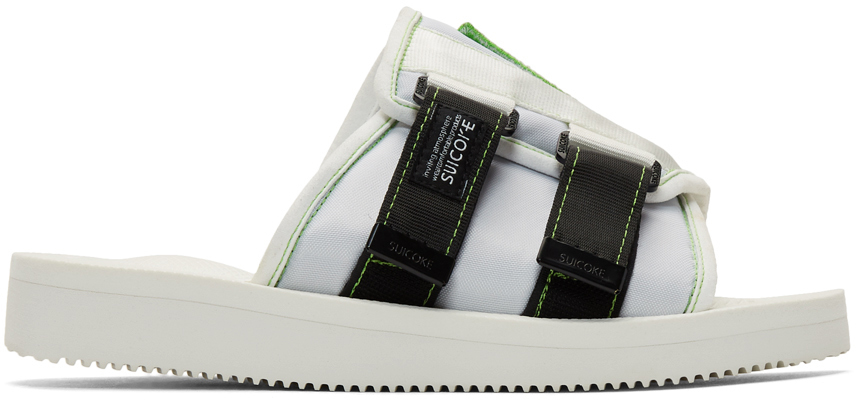 Palm Angels Slippers White & Green Suicoke Edition Patch Slides