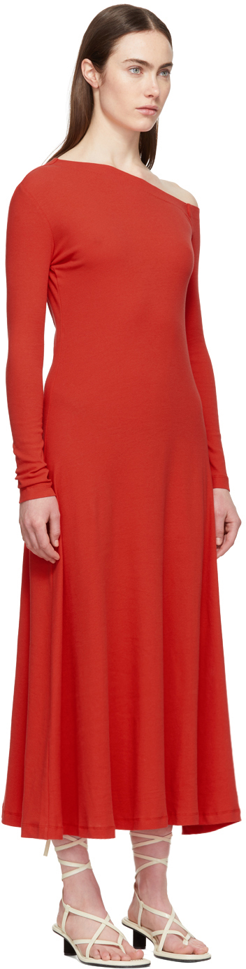 Rosetta Getty Dresses Red Off-Shoulder Flare Dress