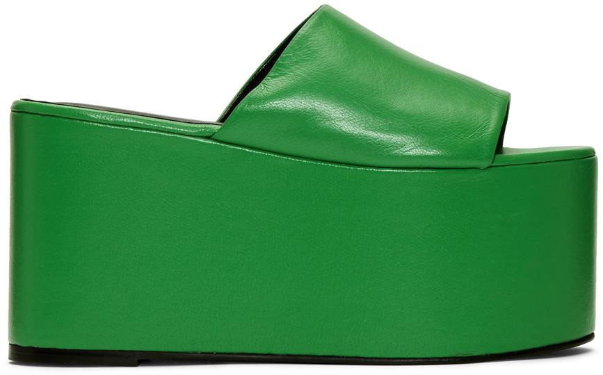 Simon Miller Flats Green Blackout Platform Sandals