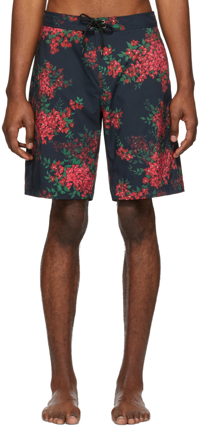John Elliott Beachwear Black Bougainvellea Board Shorts