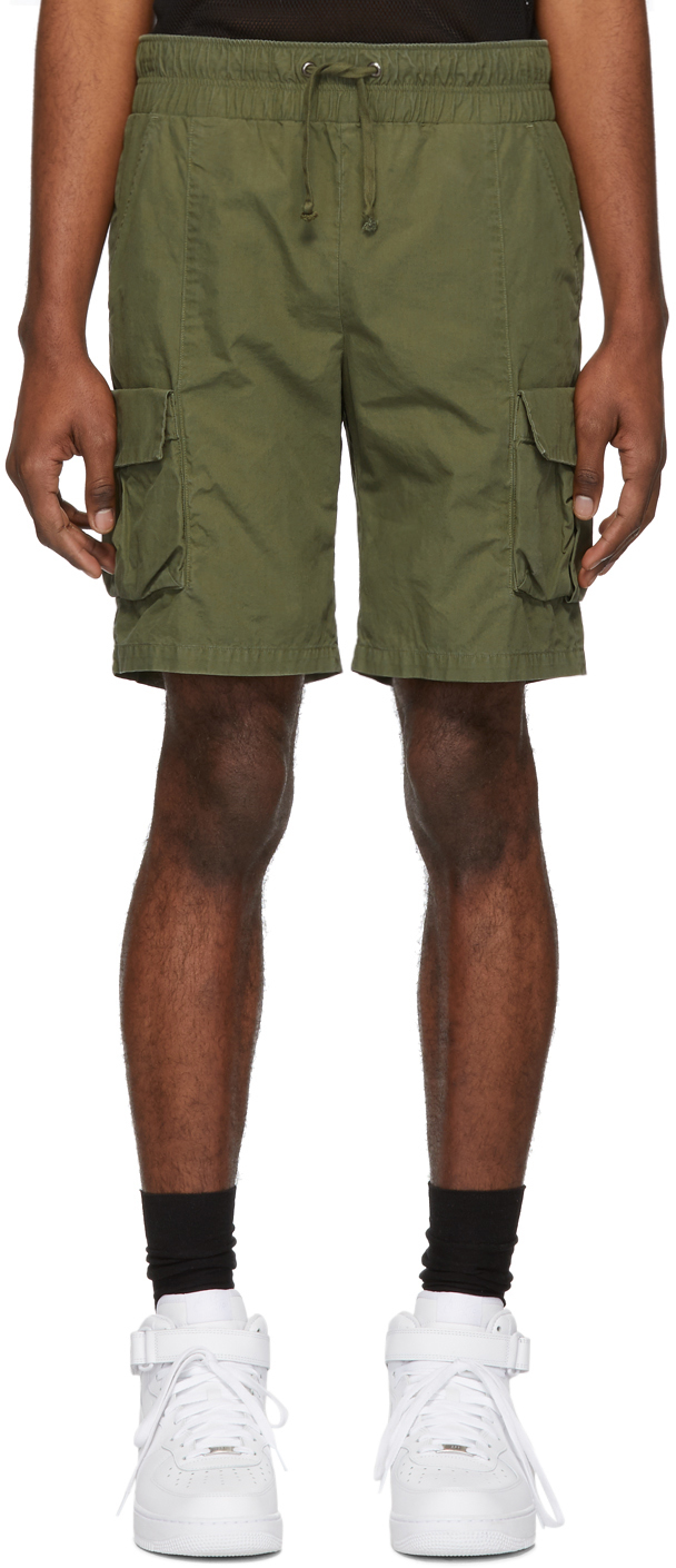 John Elliott Shorts Green Military Cargo Shorts