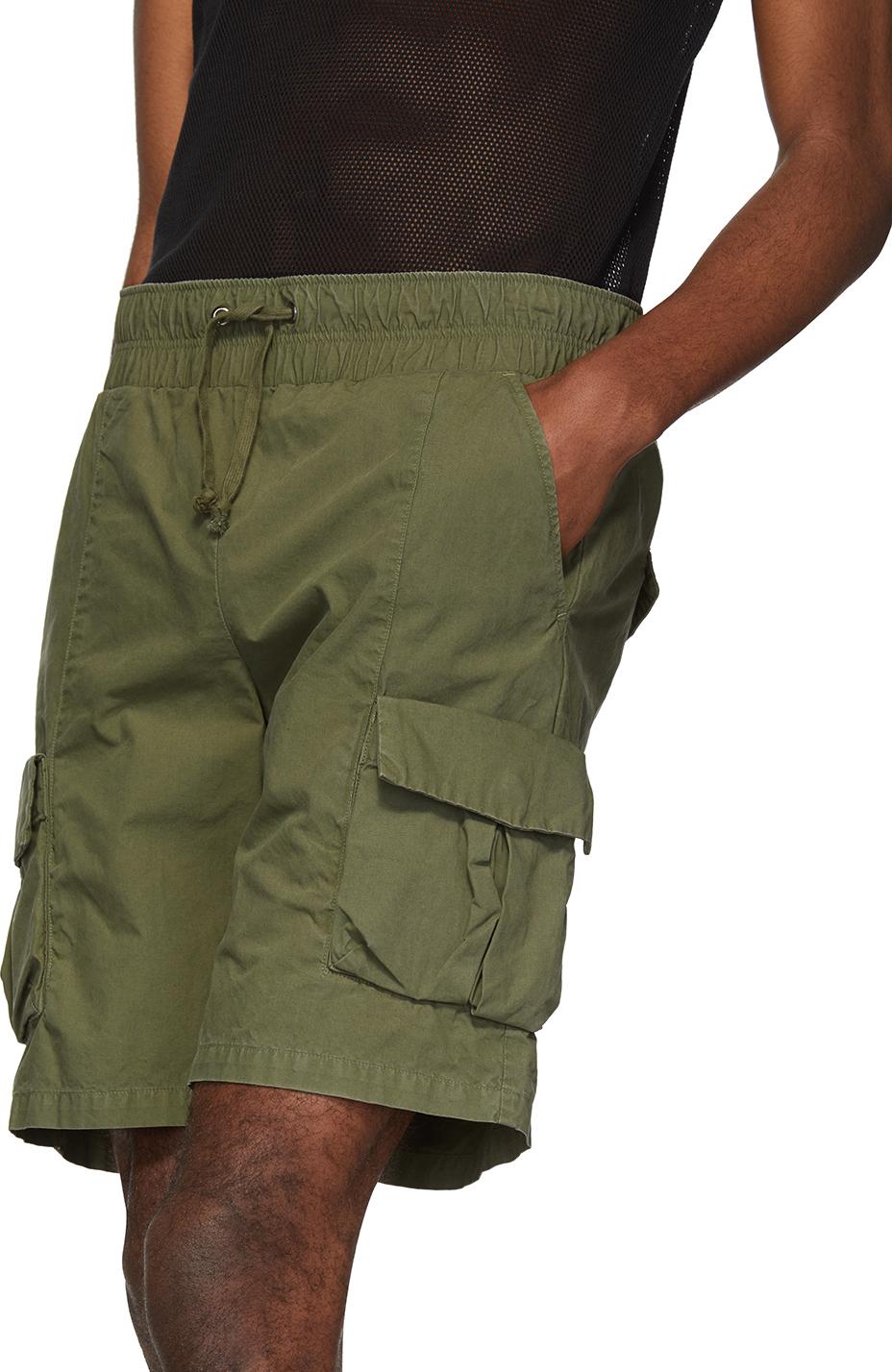 John Elliott Shorts Green Military Cargo Shorts