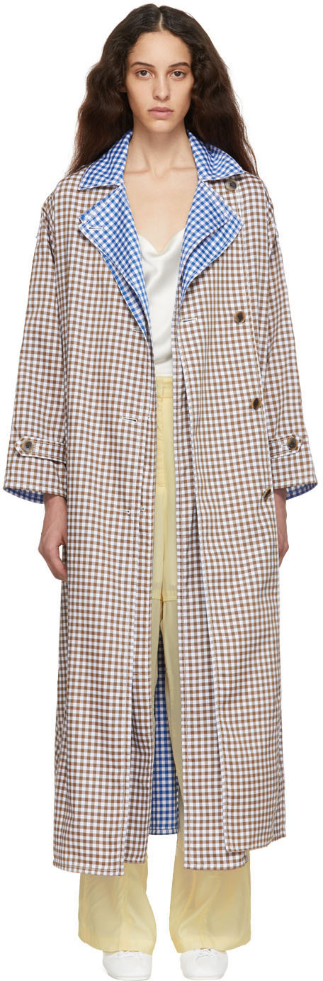 Ports 1961 Brown & White Gingham Criss Cross Front Trench Coat
