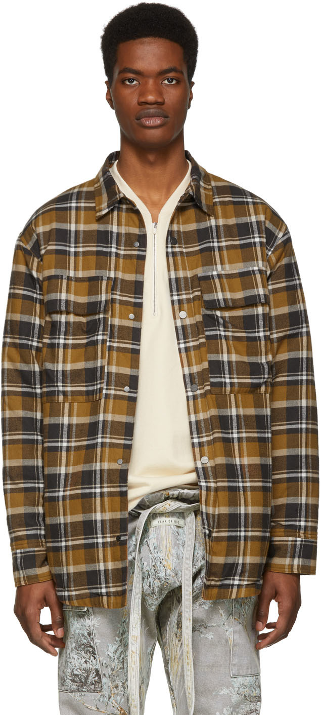 Fear Of God Jackets Brown Plaid Flannel Shirt Jacket