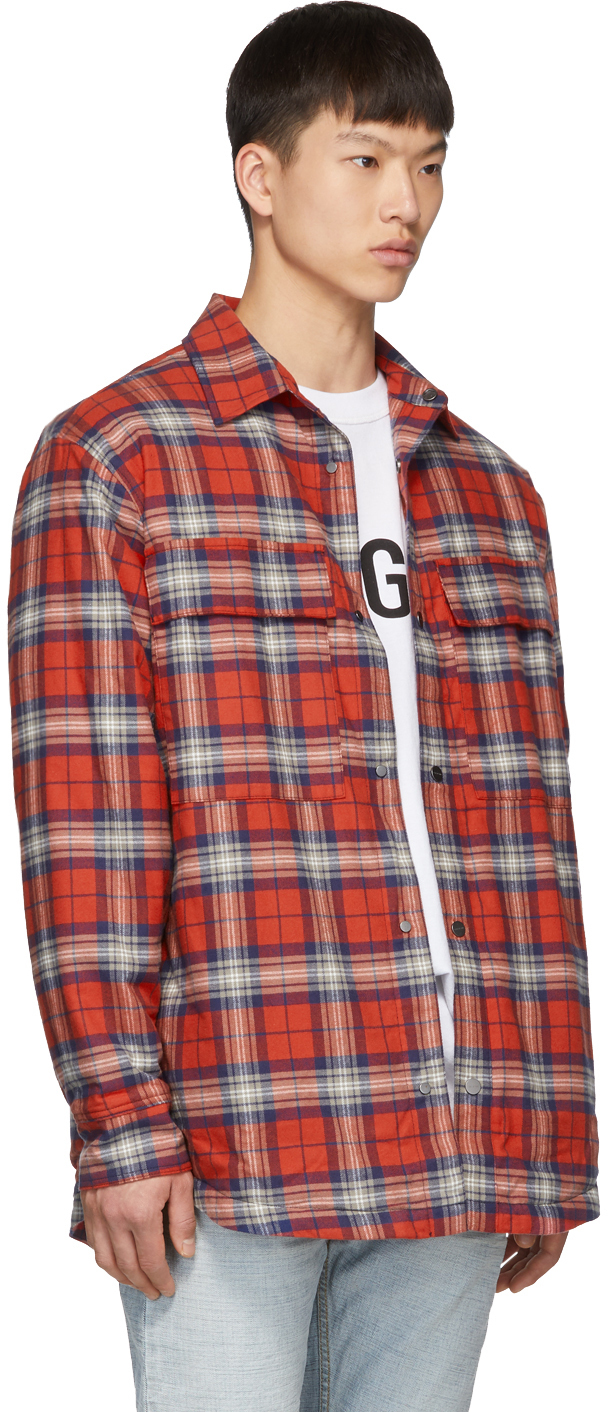 Fear Of God Jackets Red Flannel Shirt Jacket