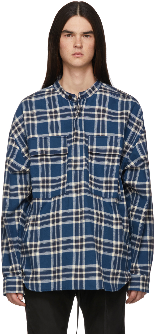 Fear Of God T-shirts Blue Plaid Pullover Henley Shirt