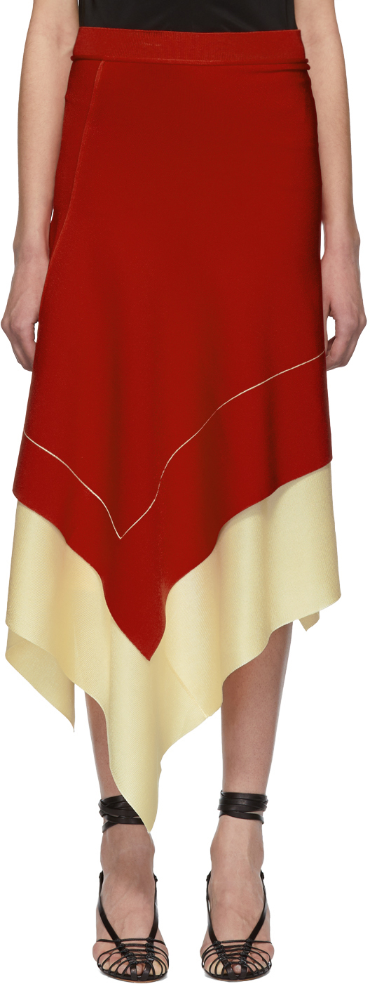 Victoria Beckham Skirts Red Asymmetric Long Skirt
