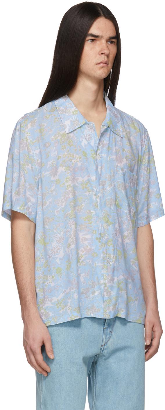 Our Legacy T-shirts Blue Plants Box Shirt