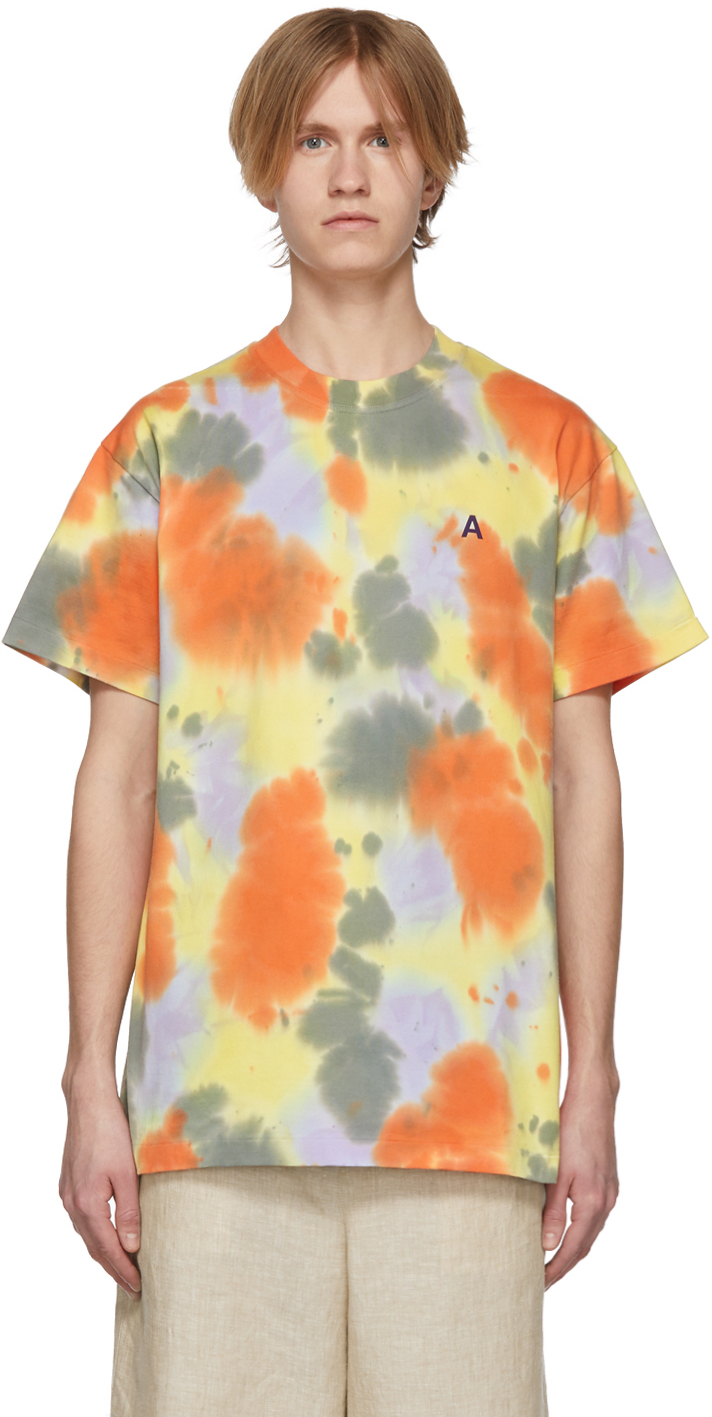 Ambush T-shirts SSENSE Exclusive Yellow 'A' Waves Tie-Dye T-Shirt