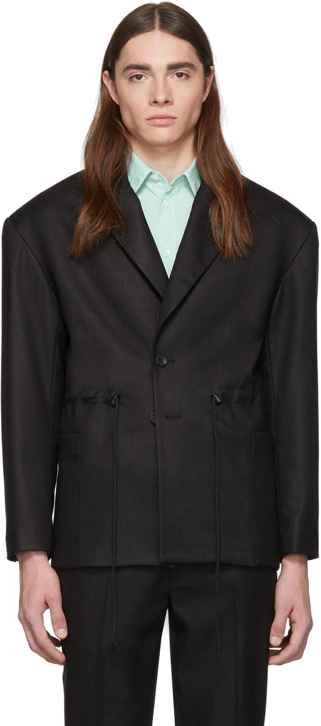Eckhaus Latta Blazers Black Gloss Drawcord Blazer