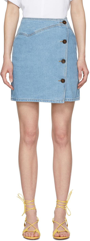 Nanushka Shorts Blue Denim Amita Miniskirt