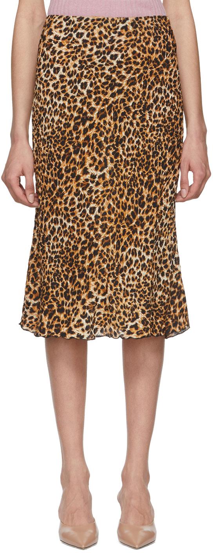 Nanushka Skirts Black & Beige Ocelot Zarina Skirt