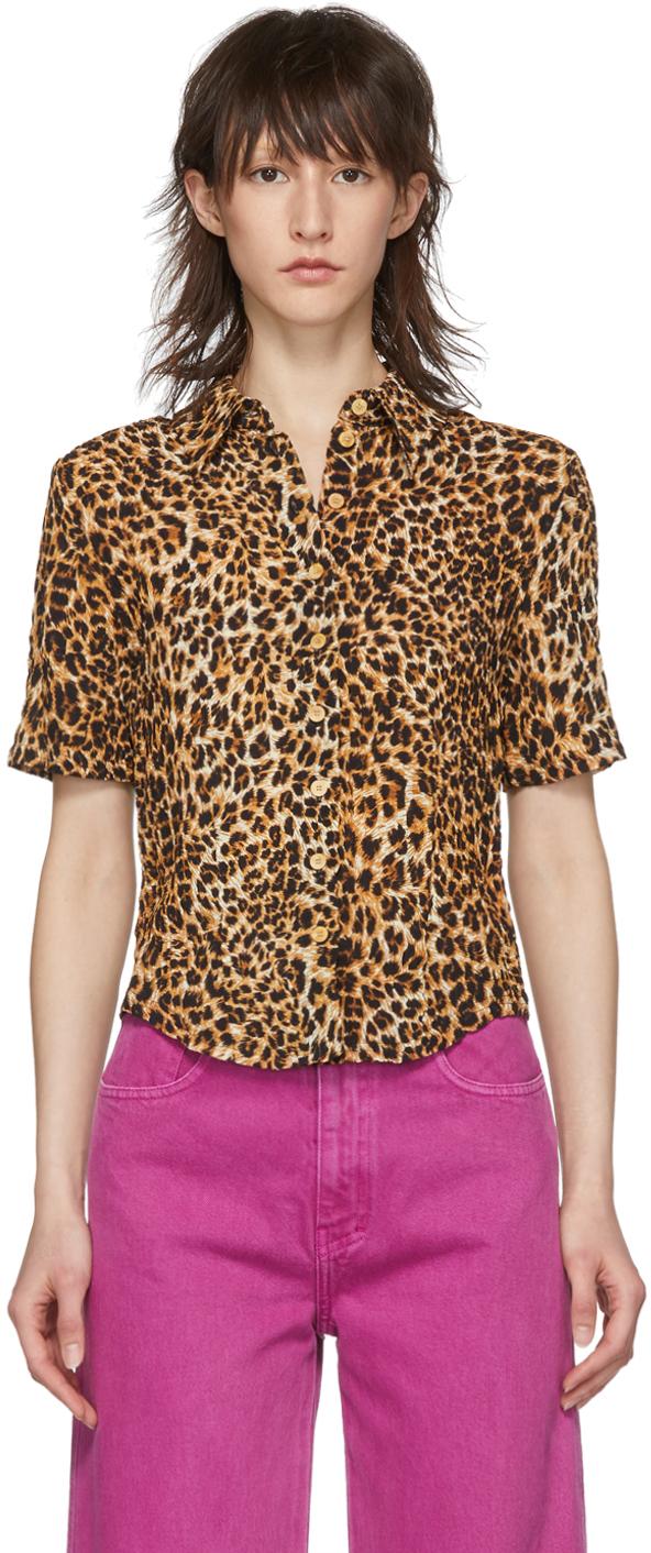 Nanushka T-shirts Orange & Black Ocelot Claire Shirt