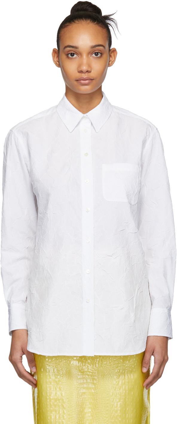 Sies Marjan White Crinkled Poplin Sander Shirt