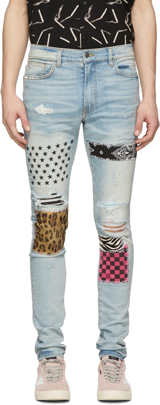 Amiri Jeans Blue Art Patch Jeans