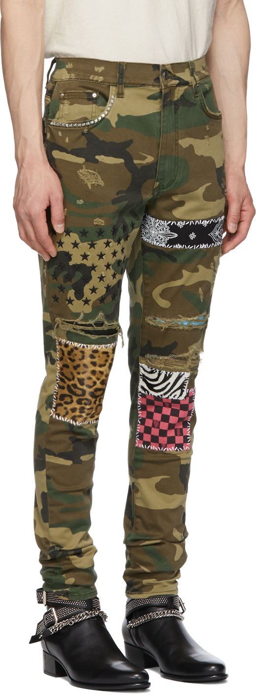 Amiri Jeans Green & Brown Camo Art Patch Jeans