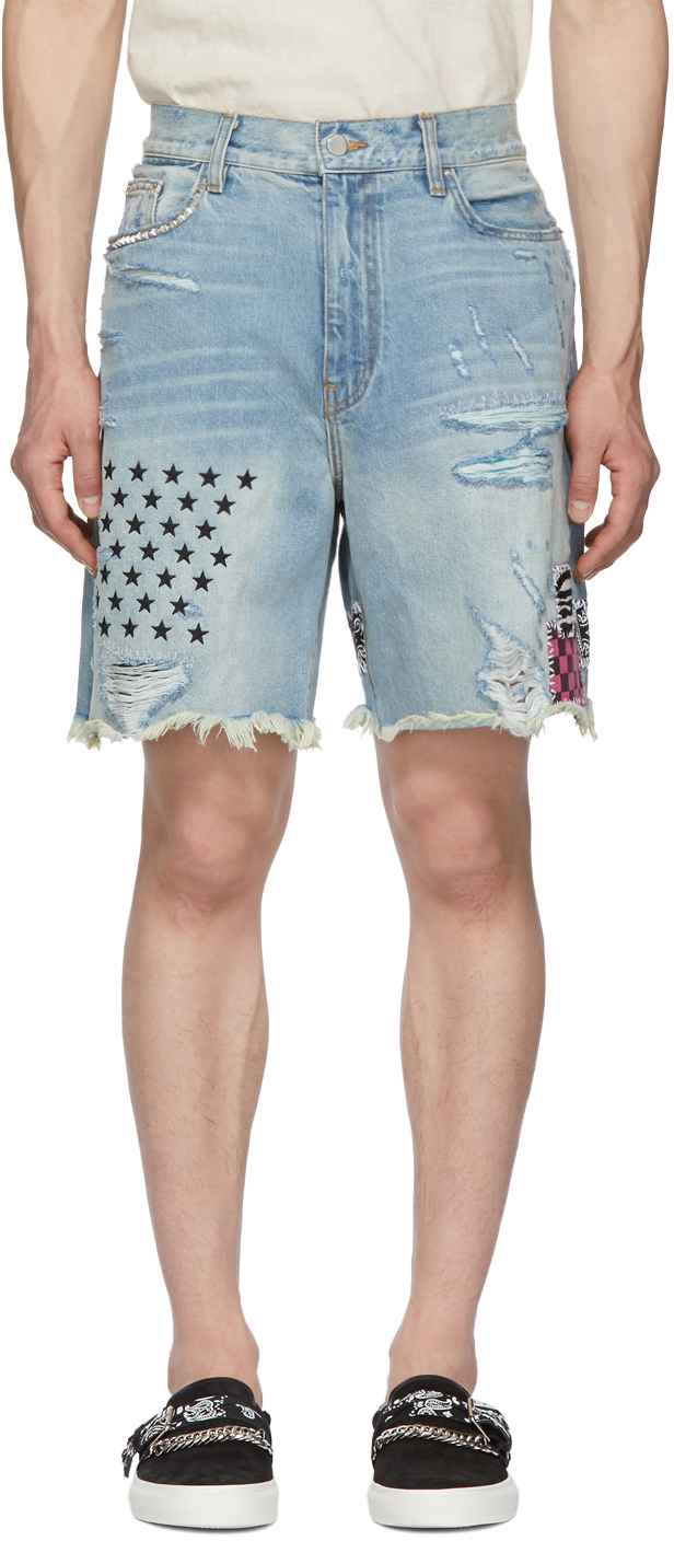 Amiri Shorts Indigo Denim Art Patch Shorts